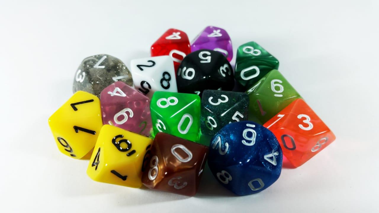 Conjunto 5 dados RPG D9 lados com bag Magic DeD  - Place Games