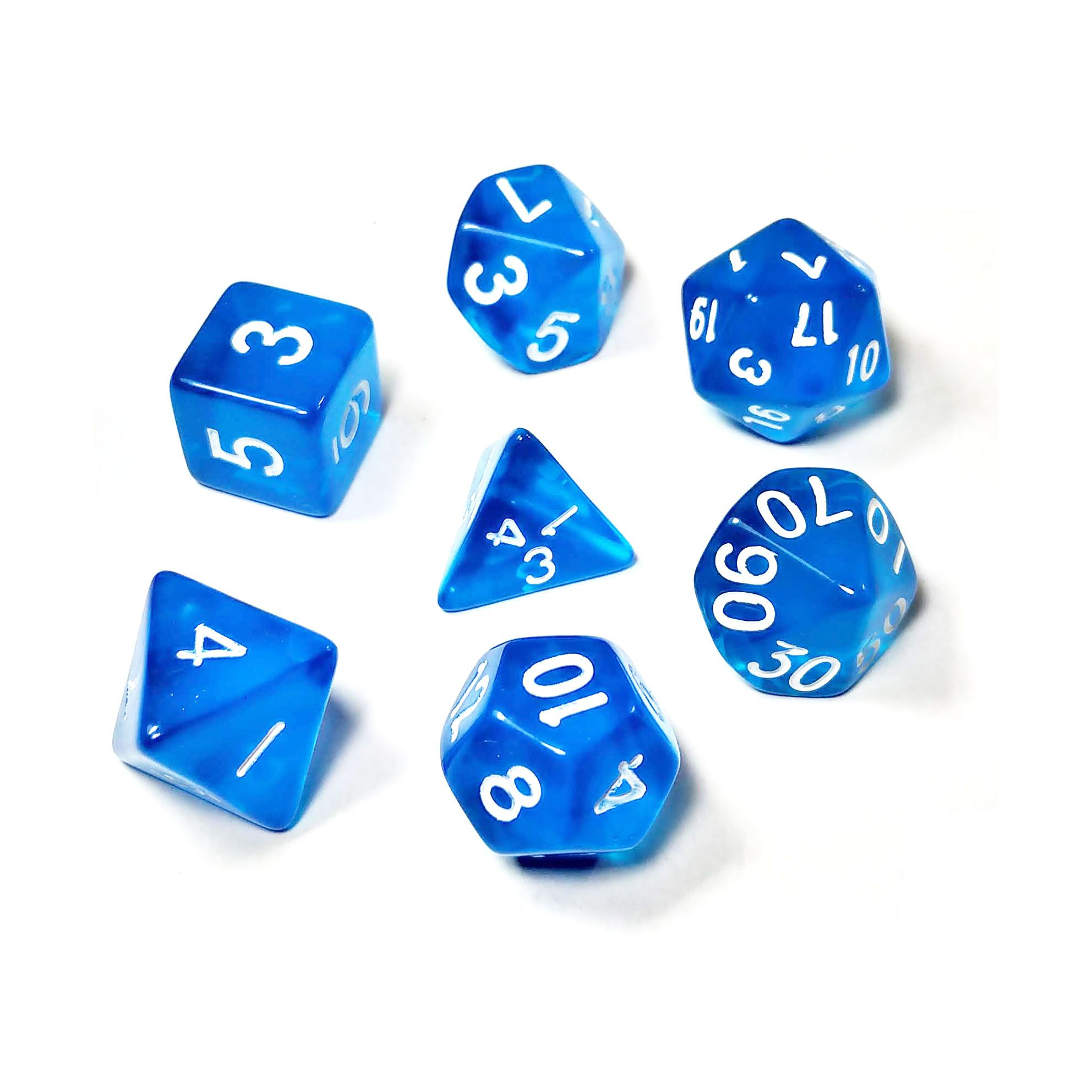 Conjunto de 7 Dados para RPG Translucido Azul (D4, D6, D8, D10, D10%, D12, D20)  - Place Games