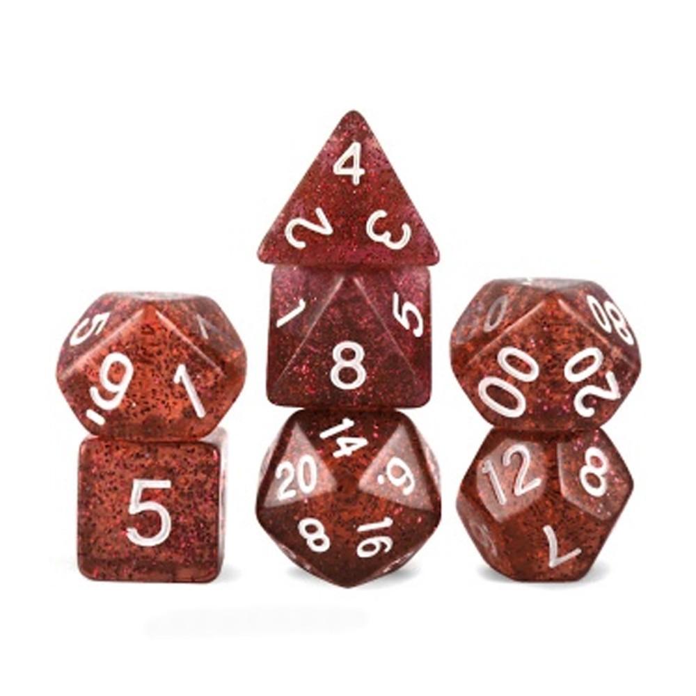 Conjunto de 7 Dados para RPG Translucido Vinho Glitter (D4, D6, D8, D10, D10%, D12, D20)  - Place Games