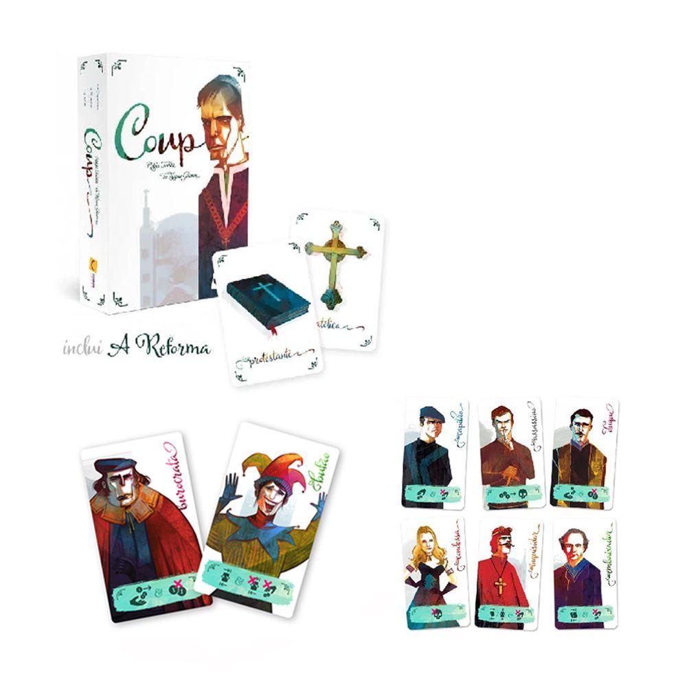 Kit Coup + Expansões a Reforma, a Inquisição e Bufão e Burocrata Jogo de Cartas Mandala  - Place Games