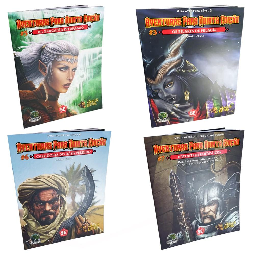 Kit Dungeons & Dragons Aventuras para 5a Edição 4 Livros Galapagos  - Place Games