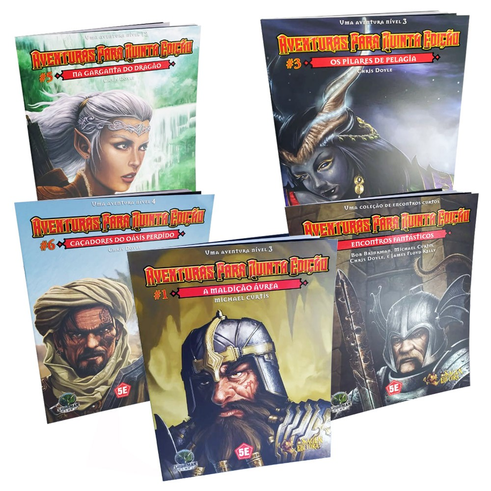 Kit Dungeons & Dragons Aventuras para 5a Edição 5 Livros Galapagos  - Place Games