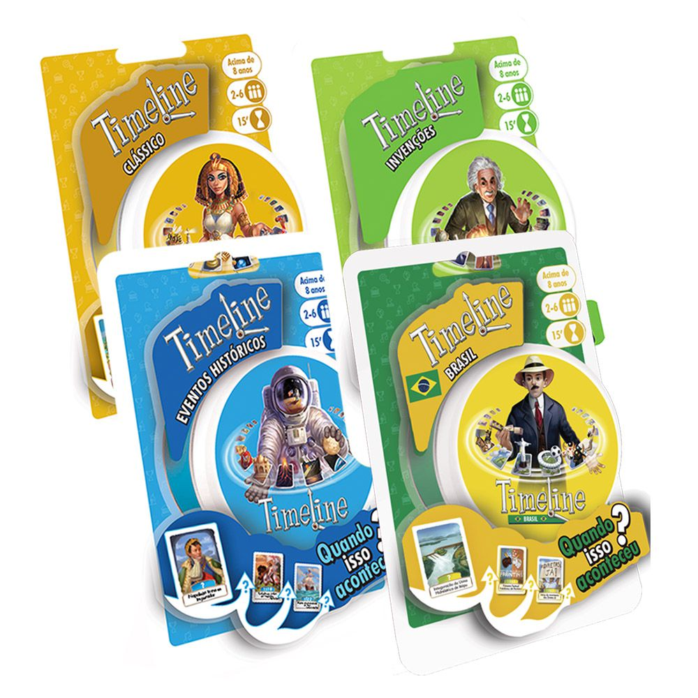 Kit Timeline Classico + Eventos Historicos + Invenções + Brasil Jogos de Cartas Galapagos  - Place Games