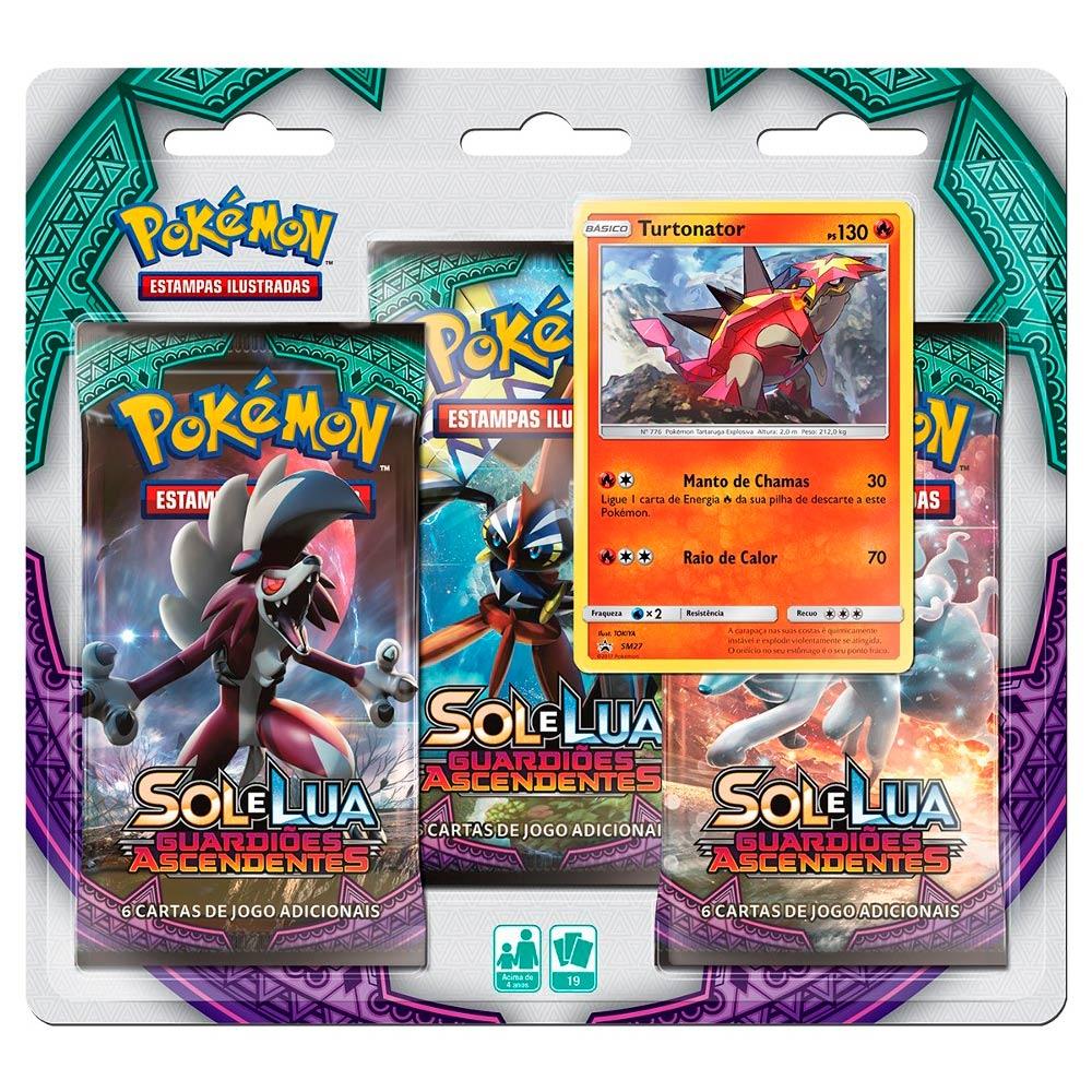 Pokemon Blister Triple Pack Sol e Lua Guardiões Ascendentes Turtonator Copag 97450  - Place Games