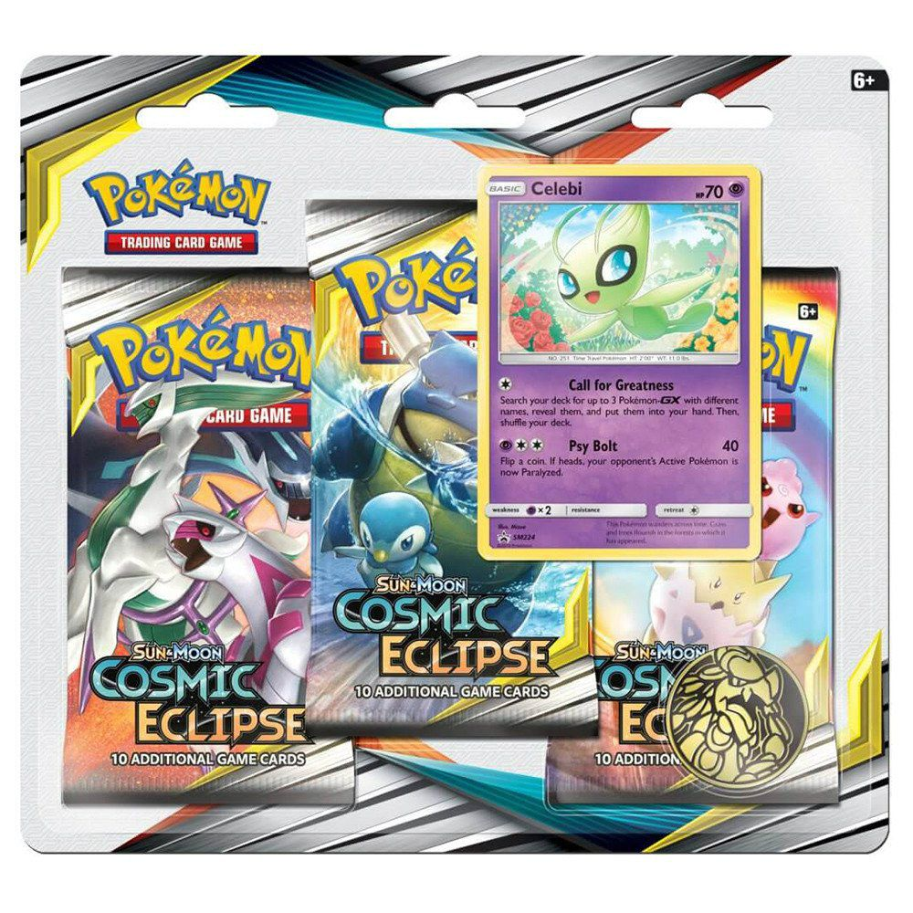 Pokemon Sol e Lua 12 Eclipse Cósmico Triple Pack Celebi Jogo de Cartas Copag 99579  - Place Games