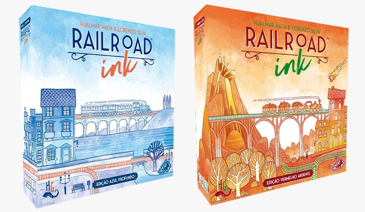 Rail Road Ink Azul Profundo + Vermelho Ardente Jogos de Dados Galapagos  - Place Games