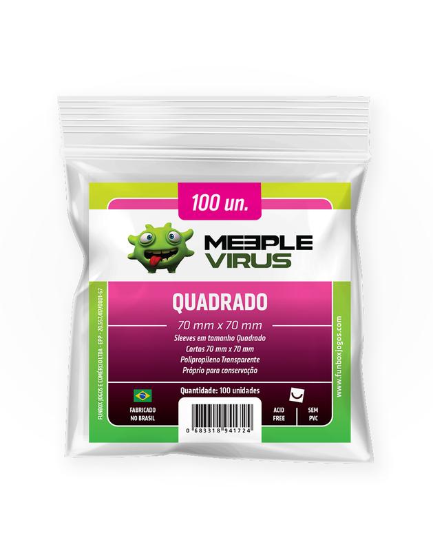 Shields Sleeves Quadrado 70 X 70mm Meeple Virus 100 unidades  - Place Games