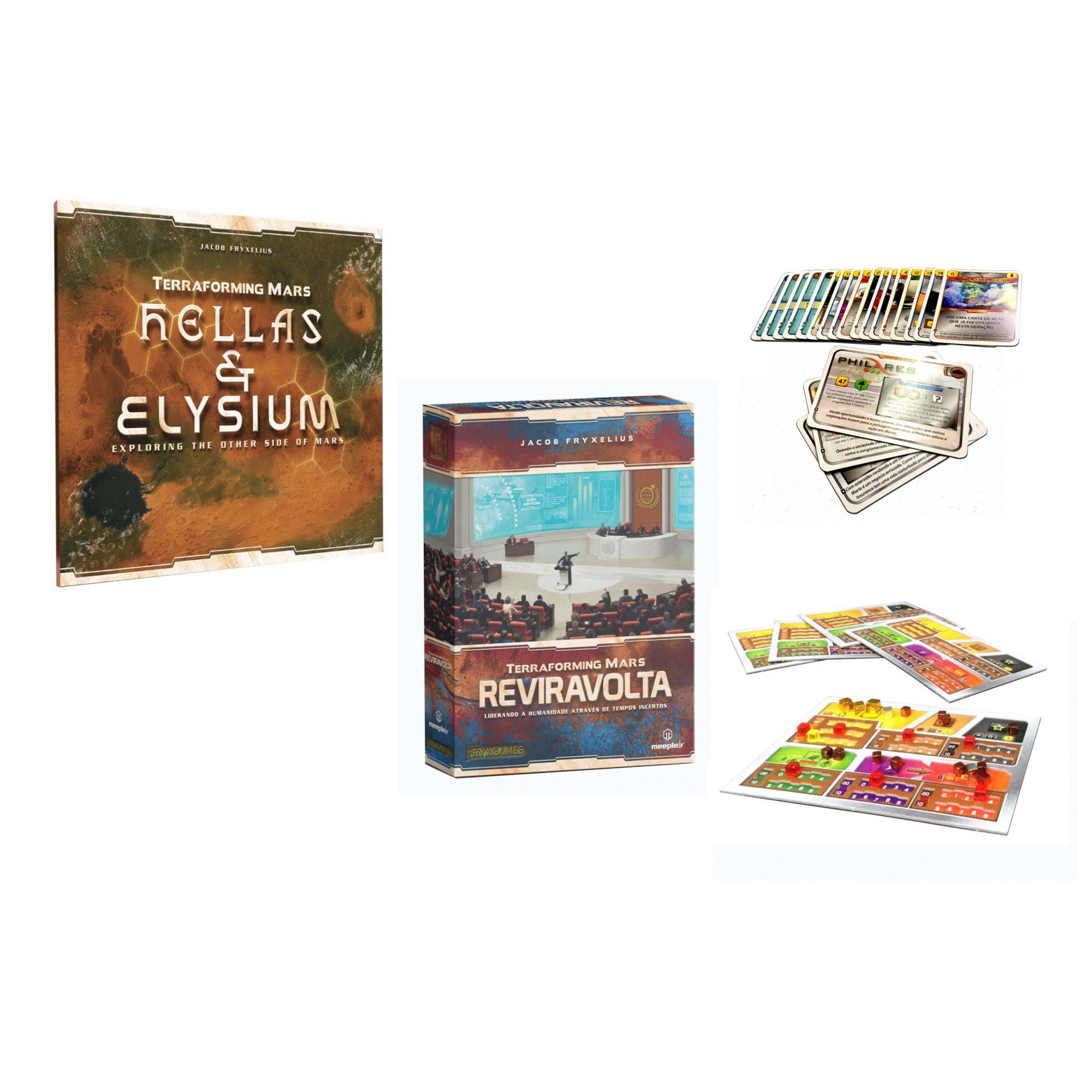 Terraforming Mars Hellas & Elysium + Promos Kick Starter + Reviravolta Expansões de Jogo de Tabuleiro Meeple BR  - Place Games