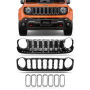 Grade Interna + Grade Externa + Kit 7 Peças Molduras Cromadas Jeep Renegade 2016 2017 2018