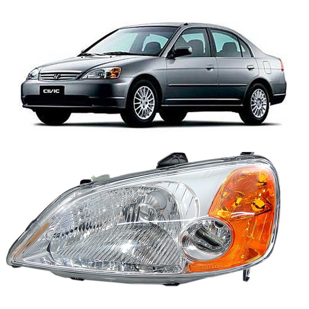 Farol do Lado Esquerdo do Civic EX 1.7 2001 2002 2003