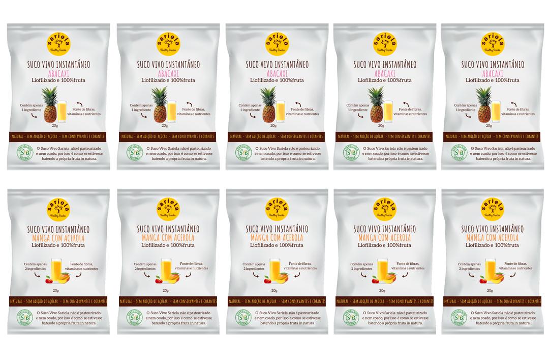 BOX SUCO VIVO INSTANTÂNEO - 10 UNIDADES  - Sariela Healthy Snacks