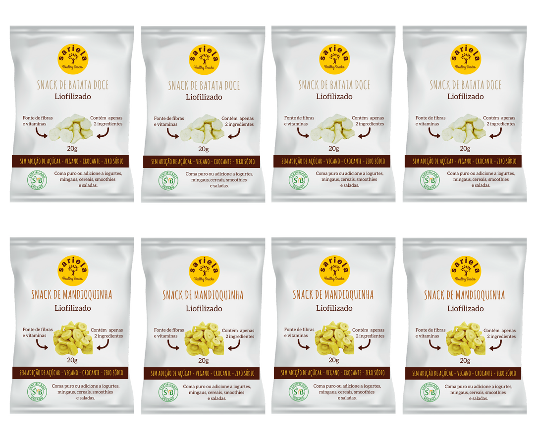 MINI BOX DE LEGUMES POR ASSINATURA - 8 UNIDADES   - Sariela Healthy Snacks