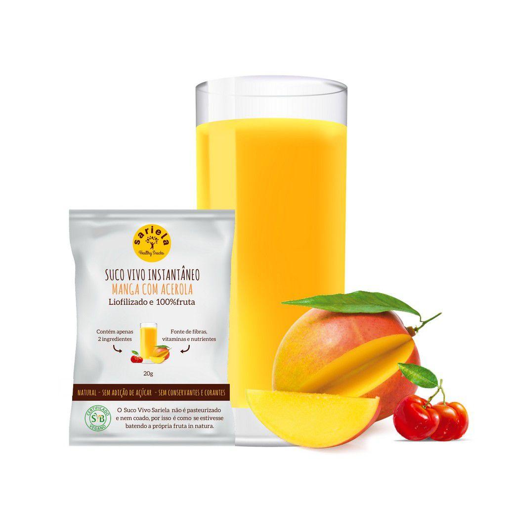 SUCO VIVO INSTANTÂNEO DE MANGA COM ACEROLA  - Sariela Healthy Snacks