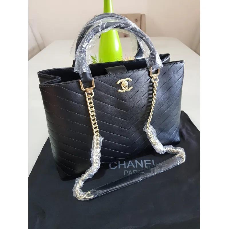 BOLSA CHANEL CALFSKIN CHEVRON CHIC SHOPPING BAG