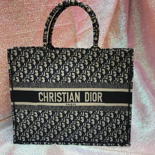 Bolsa Dior Embroidered Canvas Book Tote