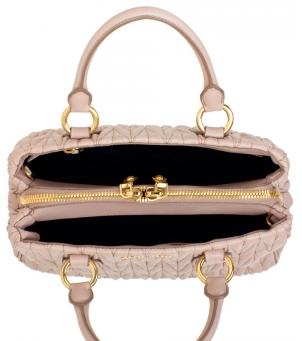 Bolsa Miu Miu Metalasse Leather Tote pink