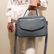 Bolsa Baú de Couro Azul  - Cintos Exclusivos - Feminino
