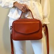 Bolsa Baú de Couro Laranja - Cintos Exclusivos - Feminino
