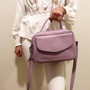 Bolsa Baú de Couro Lilás  - Cintos Exclusivos - Feminino