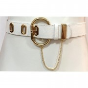 Cinto com Detalhe em Corrente de Couro Branco com Fivela Dourada - 4,5cm - Cintos Exclusivos - Feminino