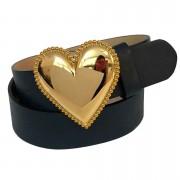 Cinto Coração de Couro Azul Marinho  com Fivela Dourada Suave - 4cm - Cintos Exclusivos - Feminino