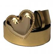 Cinto Coração de Couro Dourado  com Fivela Dourada Suave - 4cm - Cintos Exclusivos - Feminino