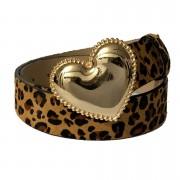 Cinto Animal Print Coração de Couro Onça  com Fivela Dourada Suave - 4cm - Cintos Exclusivos - Feminino