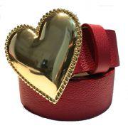 Cinto Coração de Couro Vermelho  com Fivela Dourada Suave - 4cm - Cintos Exclusivos - Feminino