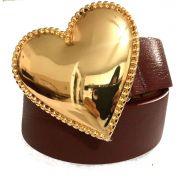 Cinto Coração de Couro Vinho  com Fivela Dourada Suave - 4cm - Cintos Exclusivos - Feminino