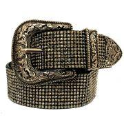 Cinto de Brilho  Preto com Uma Fivela e Ponteira Prata  - 3,5 cm - Cintos Exclusivos - Feminino
