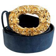 Cinto de Camurça Azul com Fivela Anjo Dourada  - 4cm - Feminino