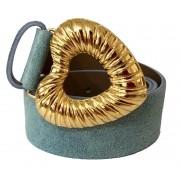 Cinto de Camurça Azul  Coração com fivela dourada - 4,0 - cm - Feminino