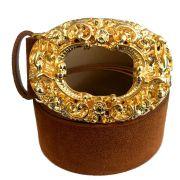 Cinto de Camurça Caramelo  com Fivela Anjo Dourada  - 4cm -  Feminino