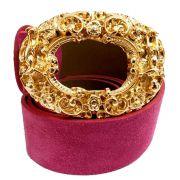 Cinto de Camurça Rosa Pink com Fivela Anjo Dourada  - 4cm - Feminino