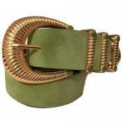 Cinto de Camurça Verde  com Fivela Dourada  - 4cm - Feminino