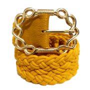Cinto de Corda Amarelo com Fivela Dourada  - 4,5 cm- Cintos Exclusivos - Feminino