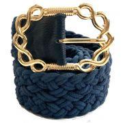 Cinto de Corda Azul com Fivela Dourada  - 4,5 cm- Cintos Exclusivos - Feminino