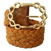 Cinto de Corda Caramelo com Fivela Dourada  - 4,5 cm- Cintos Exclusivos - Feminino