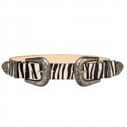 Cinto de Couro Animal Print Zebra  com Duas Fivelas Pratas Western  - 3,5 cm - Cintos Exclusivos VC - Feminino