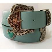 Cinto de Couro Azul com detalhe fivela e ponteira prata para cintura alta arabesco   - 4,0- cm