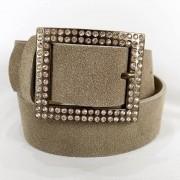 Cinto de Couro Bege com Fivela  Ouro Velho com Strass - 4 cm - Cintos Exclusivos - Feminino