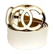 Cinto de Couro  Branco com Fivela   Ouro - 4 cm - Cintos Exclusivos - Feminino