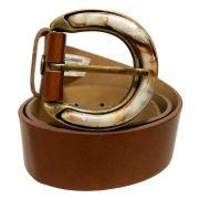 Cinto de Couro Caramelo com Fivela  em pedraria - 4 cm - Cintos Exclusivos - Feminino