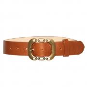 Cinto de Couro Caramelo com Fivela Ouro Velho - 4 cm - Cintos Exclusivos - Feminino