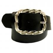 Cinto de Couro Preto com Fivela Prata  - 4 cm - Cintos Exclusivos - Feminino