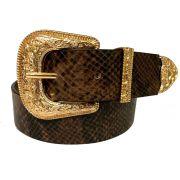 Cinto de Couro  Animal Print Cobra com Fivela e Ponteira Dourada  - 3,5 cm - Cintos Exclusivos - Feminino