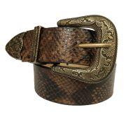 Cinto de Couro  Animal Print Cobra com Fivela e Ponteira Ouro Velho  - 3,5 cm - Cintos Exclusivos - Feminino