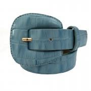 Cinto de Couro Croco Azul com fivela encapada - 2,5 - cm - Cintos Exclusivos - Feminino