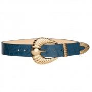 Cinto de Couro Croco Azul Marinho Concha com fivela e ponteira dourada - 3,5 - cm - Cintos Exclusivos VC- Feminino