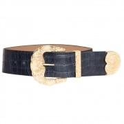 Cinto de Couro Croco Max Azul com fivela e ponteira dourada - 6,0 - cm - Cintos Exclusivos - Feminino